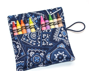 Crayon Roll, Blue Bandana, Crayon Rollup, holds up to 10 Crayons, Birthday Party Favors