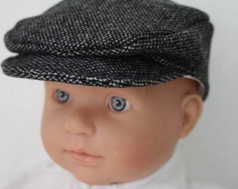 Baby Flat Cap\Navy Blue Wool Tweed Newsboy Cap\Boys Dress Hat\Ringbearer Cap\Childrens Flatcap\Special Occasion-Newborn to 5 years