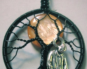 Wire Wrapped Tree of Life, Walking Dead Full Moon Tree of Life, Orange Full Moon Tree of Life, Halloween Tree of Life