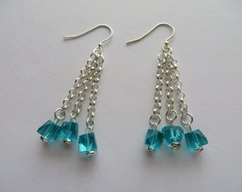 Handcrafted 925. Sterling Silver Turquoise Glass Beads Earrings Summer Trend
