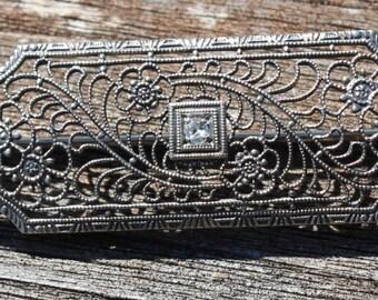 Antique Art Deco 10k White Gold and Diamond Filigree Pin