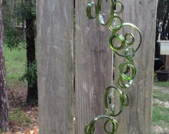GLASS WINDCHIMES from RECYCLED bottles, eco friendly, green, garden decor, wind chimes, mobiles, musical, windchimes