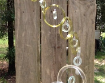 Glass windchimes from RECYCLED bottles, eco friendly, green, garden decor, mobiles, windchimes, glass wind chimes, glass