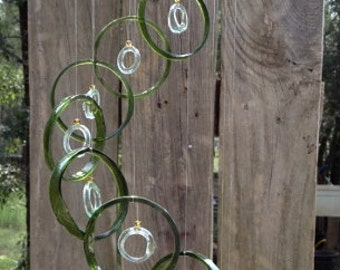 Glass Wind Chimes  from RECYCLED bottles, eco friendly ,green clear, wind chime, garden decor, wind chimes, musical, home decor, mobile