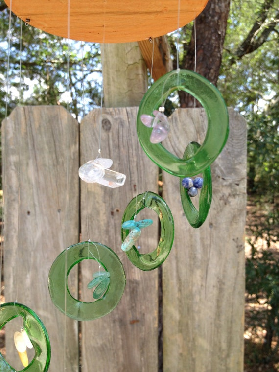 GLASS WINDCHIME from RECYCLED bottles, wood chakra healing, metaphysical windchimes, chakra stones, garden decor, healing properties