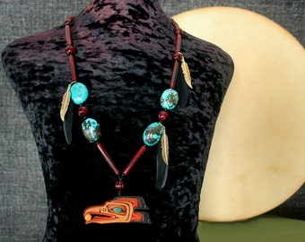 Raven Necklace, Shaman Necklace, Ethnic Jewelry, Tribal Necklace, Totem Necklace, Native American Jewelry, American Indian Jewelry