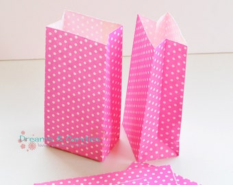"75 Patterned Mini Pinks Dots Paper Bags with Gusset Size 3-5/8"" X 2-1/4"" X 7""  -Candy Bags -Birthday Paper Bags -Blue Paper bags -Favor Bags"