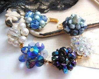 Repurposed Vintage Bead Cluster Earring Blue Crystal White Pearl Charm Bracelet