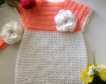 Toddler Flower Dress Set Headband Crochet Handmade