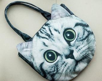 White cat, cat bag, cat purse, cat lover bag, tote bag, shoulder bag, pet bag, pet lover bag, animal bag, C079