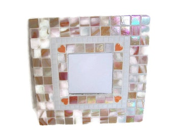 Orange Mosaic Wall Mirror - Pale Orange with Heart Detail
