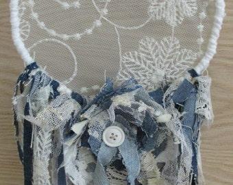 Shabby Chic Dream Catcher, Vintage Fabrics, Lace, Fringe, Romantic