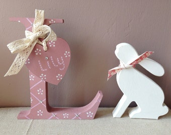 Freestanding wooden letter initial with personalised heart tag