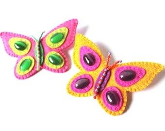 Felt Butterfly Brooch Embroidery Butterfly Pin Pink Yellow Butterfly brooch Felt jewelry Kids jewelry