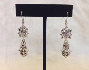 Silver Lotus Hamsa Hand of Fatima Earrings