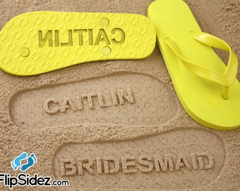 Bridesmaid Flip Flops - Personalized Sand Imprint Flip Flops for Maid of Honor, Wedding & Bridal Party *check size chart before ordering*