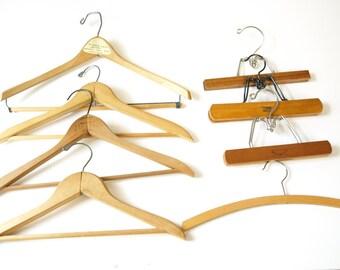 8 pc set vintage wooden suit skirt clothing hangers art display