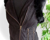 Black suede leather biker vest leather tribal biker jacket rabbit fur black waistcoat