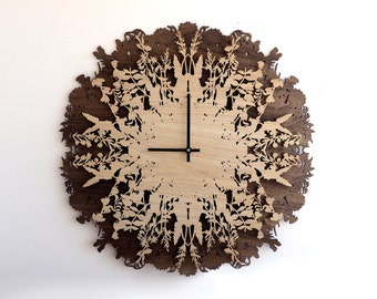 23.6in Botanica Clock, Wall Clocks, Large Wall Clock, Home Decor, Gift, Modern Wall Art, Ready to Ship, Wood