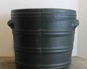 Beautiful Large Very Dark Green or Black Crock // Decorative Accent
