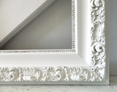 Vintage White Frame Wood Shabby Chic Large Ornate