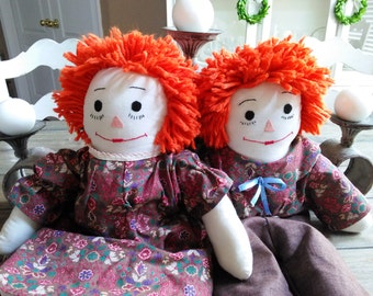 Vintage Raggedy Ann and Andy Dolls Large Handmade Set