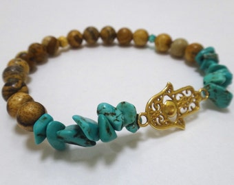 Tiger Eye Beaded Bracelet with Gold Hamsa Charm, Turquoise Nuggets and Spacers