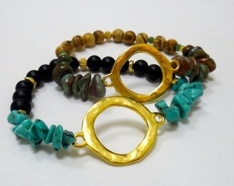 Black Matte Beaded Bracelet with Turquoise Nuggets, Gold Spacers & Gold Circle Connector