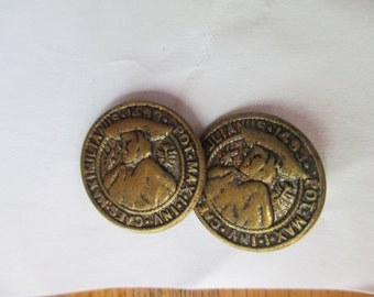 Antique 18mm Austria Brass Button - 1493 Pot Max I Inv Maximilia, Set of Two, Brass Buttons, Supplies, Old Buttons