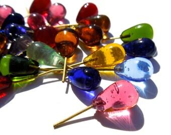 SUPPLY: 30 Glass Charm - Embedded Brass Wire Glass Drops - (3-C1-00003074)