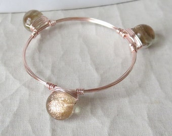 """Rosy Sand Quartz Ball Bangle with Rose Gold """"Bourbon and Bowties"""" Inspired"""