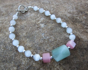 White, Green and Pink Bracelet with Silver Accents #270