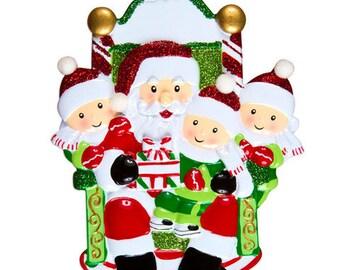 Personalized 3 Children on Santa's Lap Christmas Ornament