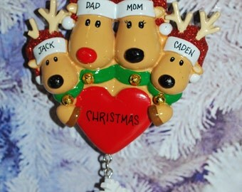 Personalized Family of 4 Reindeer Christmas Ornament
