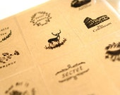 Circle Sealing Sticker Set Transparent Stickers Post Mark,Animal,Message,Crown,Voyage,Forest - 16pcs