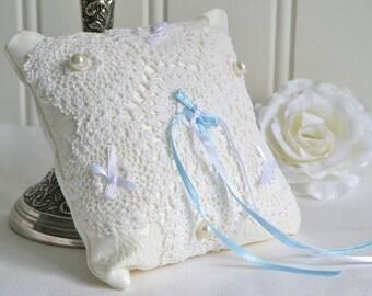 Wedding ring bearer pillow ,rustic romantic vintage wedding style, fabric home decor, primitive pincushion