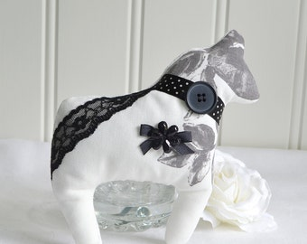 Dala horse, Swedish fabric horse, white black grey, handmade in Sweden, dalecarlian decoration horse