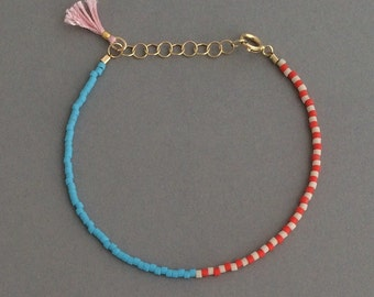 RED WHITE BLUE Seed Bead Gold Bracelet with Tassel also available in Silver Rose Gold