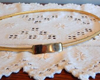 Vintage Gold Belt Slim Stretch Serpentine Rectangle Enclosure Women's Belt