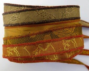 Gold and Brown Bracelet Ribbon Mix, W188