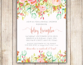 Rose Garden Bridal Shower Invitation - DIY