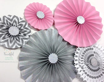 Pink and Silver Glitter | Onederland Rosette Backdrop | Pink and Silver Paper Fans | Candy Buffet Decor | Silver Snowflake Paper Rosette