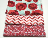 Red & Aqua Rose Burp Cloths (Set of 3)