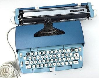 Blue Smith Corona  Automatic Typewriter - Mid Century Modern Decor,  1960's Coronet Vintage Typewriter With Case, Christmas Gift for Writer