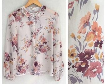 Autumn's Child blouse // 1970s blouse // 70s floral georgette shirt // m