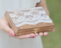 Vintage chic ring bearer box - personalized ring bearer box