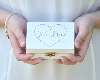"Personalized Rustic, vintage chic ""We Do"" ring bearer box"