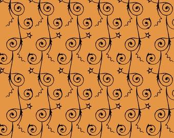Sew Scary - Swirly Stripe in Pumpkin - Quilting Treasures - 23862-O - 1/2 yard
