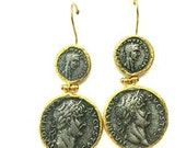 Roman coin hammered Double earrings