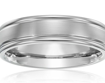 Men's Titanium Ring Wedding Band Comfort Fit with Satin Finish in Center 6MM